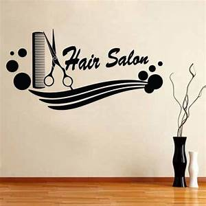 Barber Shop Sticker Name Scissors Hair Salon Decal Neutral