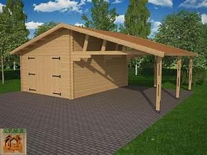 Carport Avec Abri : garage avec carport bois granvillier 44 44 m toit double pente porte battante 8 x ~ Melissatoandfro.com Idées de Décoration