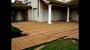 montage terrasse en bois piscine youtube With montage terrasse bois composite