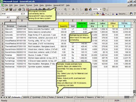 cost estimate general cost estimating estimate construction cost in excel