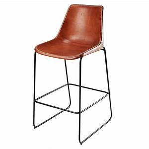 Chaise De Bar Metal : chaise de bar en cuir de ch vre marron et m tal noir waterloo maisons du monde ~ Teatrodelosmanantiales.com Idées de Décoration