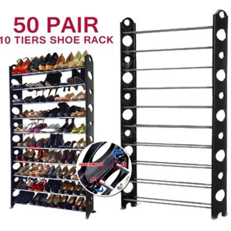 50 pair shoe rack zimtown 10 tier 50 pair of shoes adjustable stainless