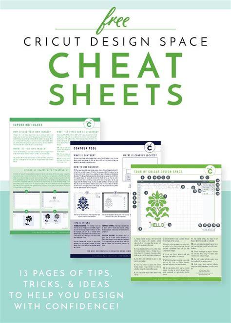 cricut design space cheat sheets cricut  cricut
