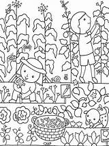 Coloring Colouring Gardening Gardens Kid sketch template