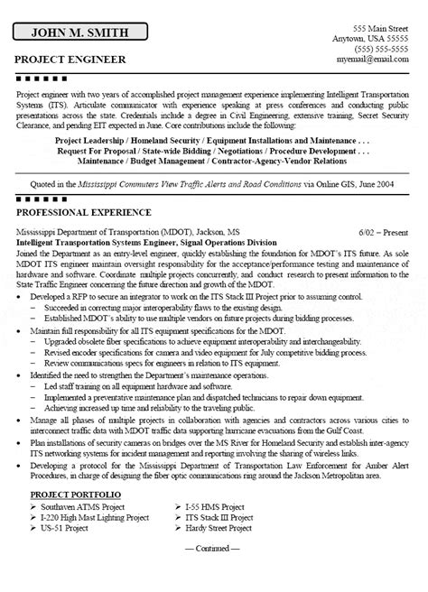 project engineer resume exle