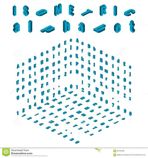 Isometric Alphabet And Font, Small And Large Letters