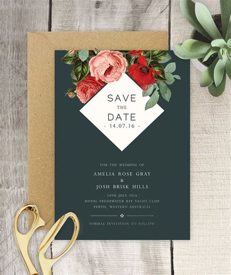 Garden / Botanical / Vintage Floral Save the Date