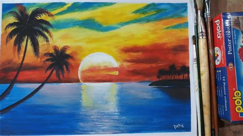 color painting how to paint a sunset scenery with poster colour
