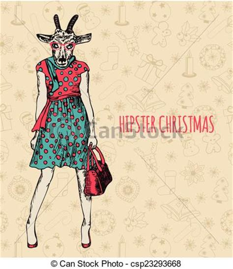 Hand Drawn Goat Woman Hipster Christmas Greeting Card