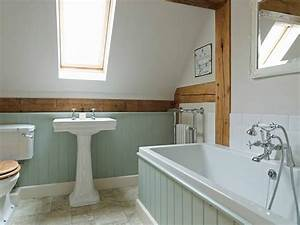 the panelling is painted in pearl colour dark by little With tongue and groove wall panelling for bathrooms