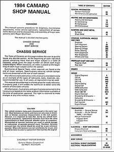 1984 Chevy Camaro Repair Shop Manual Original