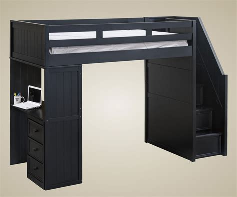bed with built in desk matte black laminated particle wood bunk beds with stairs