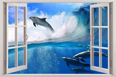 3d Window Ocean View Blue Sea Home Decor Wall Sticker: Surfing Dolphins 3D Window View Decal WALL STICKER Art