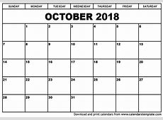 October 2018 Calendar monthly calendar 2017