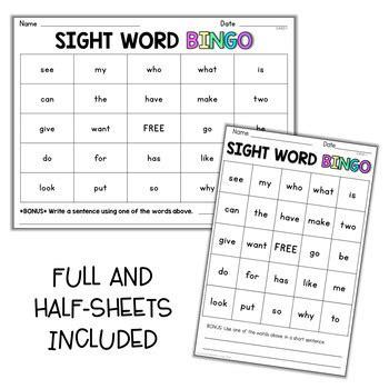 editable sight word bingo   leeby teachers pay teachers