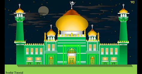 gambar masjid kartun sederhana masjid cara menggambar