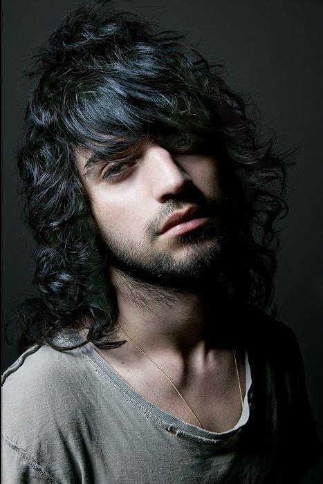 long black wavy curly shaggy messy mens hairstyles  men