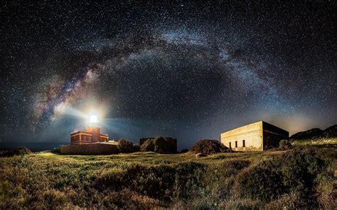 Nature Landscape Lighthouse Milky Way Starry Night