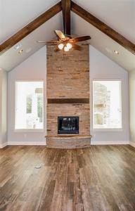 Love fireplace between two windows for living room Home