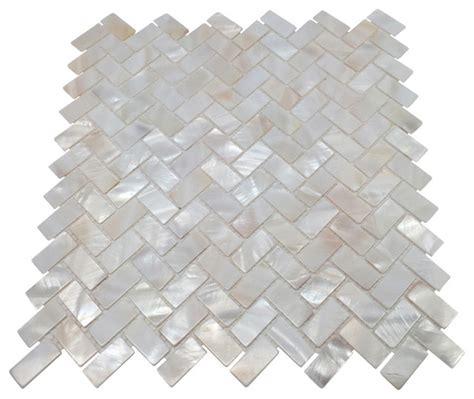 of pearl herringbone oyster white backsplash mosaic