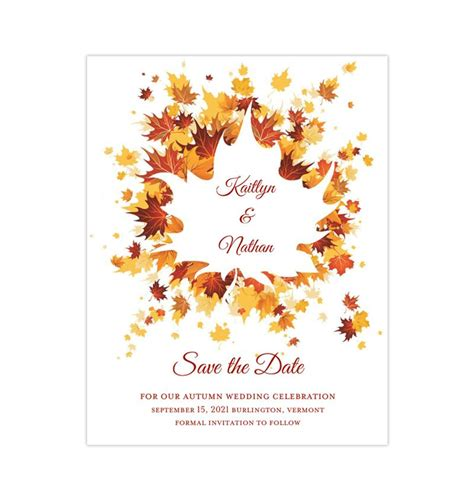 Wedding Save the Date Cards Falling Leaves Orange Yellow