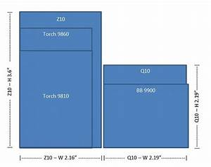 Screen Size Diagram - Q10 Vs 9900 Vs 9810