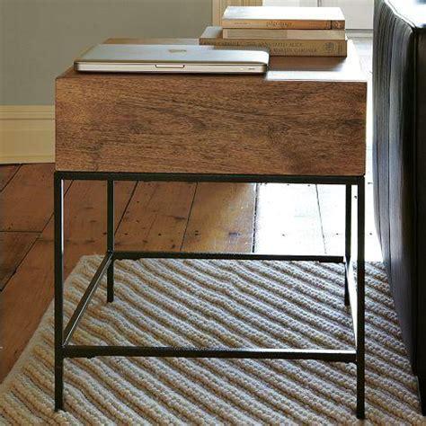 west elm end table rustic storage side table west elm