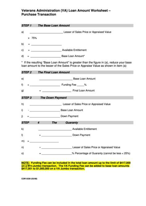 veterans administration va loan amount worksheet