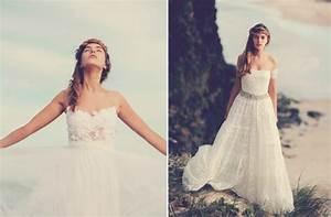 Bohemian bride on the beach lace wedding gowns 4 onewedcom for Beach wedding bride dresses