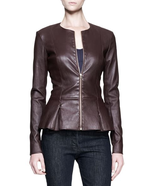 lyst  row stretch leather peplum jacket  brown
