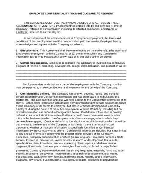 employee  disclosure agreement template