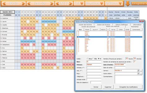 modèle planning excel gratuit applications excel quot gestion du personnel quot 224 t 233 l 233 charger