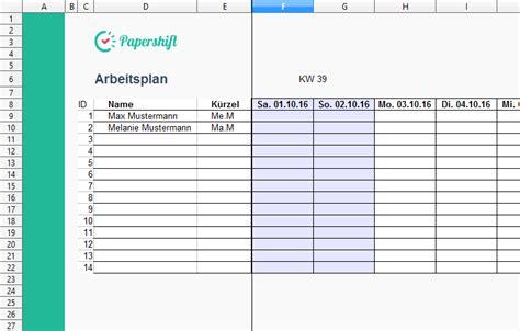 arbeitsplan vorlage excel kostenloser  papershift