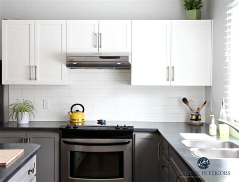 Black Laminate Countertops by Painted Kitchen Cabinets Benjamin Chelsea Gray