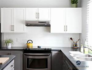 painted kitchen cabinets benjamin moore chelsea gray gray owl white subway tile black laminate countertop bud friendly kylie m interiors e design colour expert 2 889