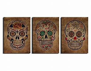 Artewoods canvas wall art sugar skull vintage painting for What kind of paint to use on kitchen cabinets for affordable framed wall art