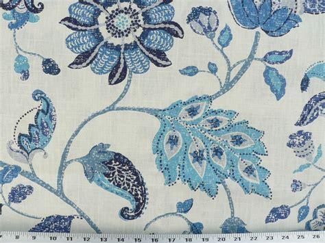 Drapery Upholstery Fabric Mottled Floral Leaf Design On