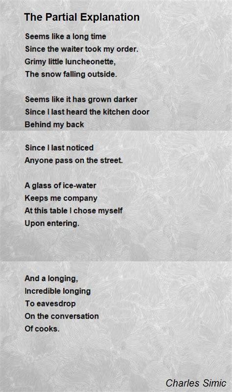 partial explanation poem  charles simic poem hunter