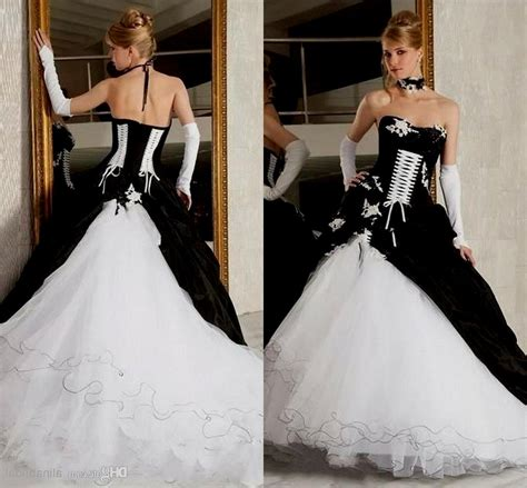corset wedding dresses black and white discount wedding dresses