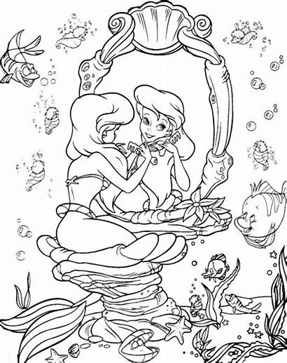 Coloring Ariel Mermaid Pages Princess