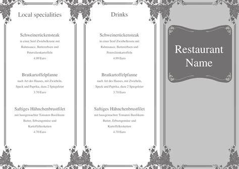 speisekarten und menuekarten kostenlose vorlage fuer eine