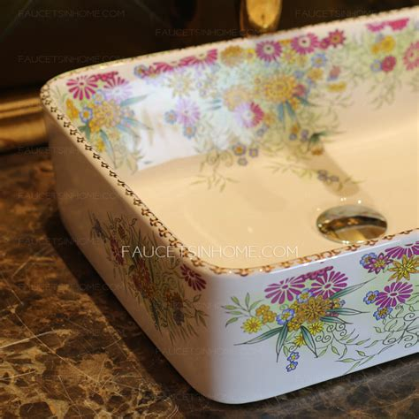 Colorful Bathroom Sinks by White Rectangle Porcelain Bathroom Sinks Colorful Floral