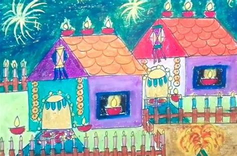 diwali drawingpetition pictures scenes paintings sketch