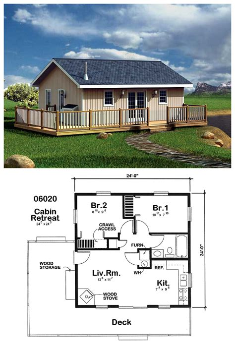 1 room cabin plans narrowlot homeplan 6020 measures 24 by 24 with two