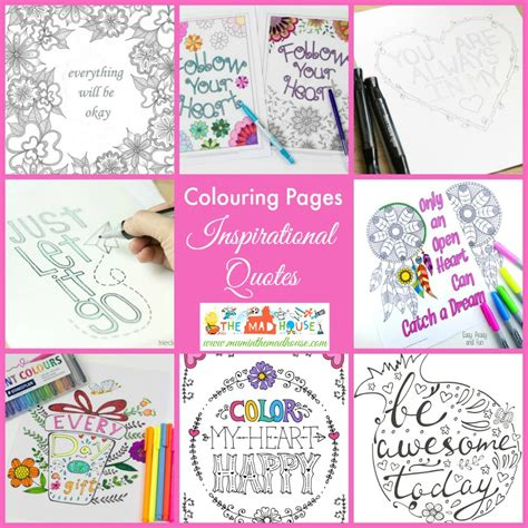 printable inspirational quotes adult coloring pages