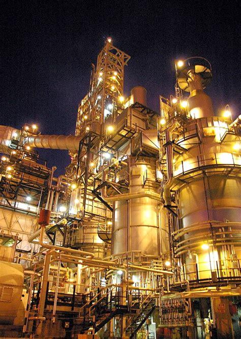 petroleum refinery plant lights  night  photo
