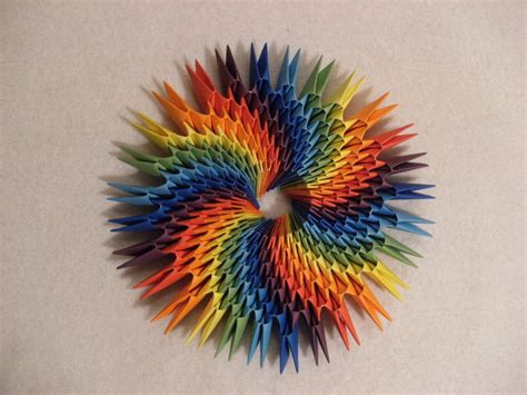 3d origami round rainbow decoration how to make