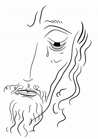 Jesus Christ Face Sketch Drawing Tears Boubin