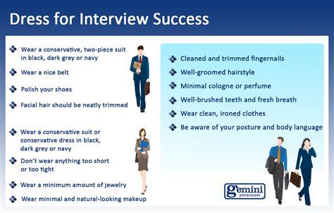 interview success tips on interview attire gemini personnel