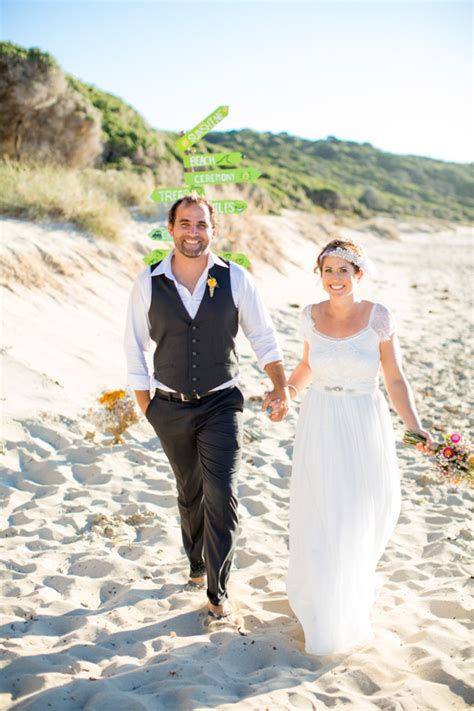 bright casual beach wedding polka dot bride